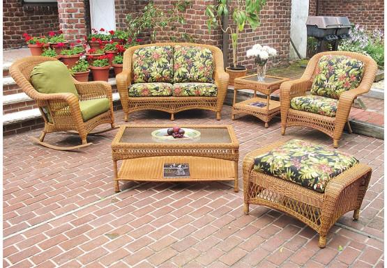 5 Piece Palm Springs Resin Wicker Furniture Set, Love Seat, Chair, Ottoman, Rocker &  Cockktail Table - GOLDEN HONEY