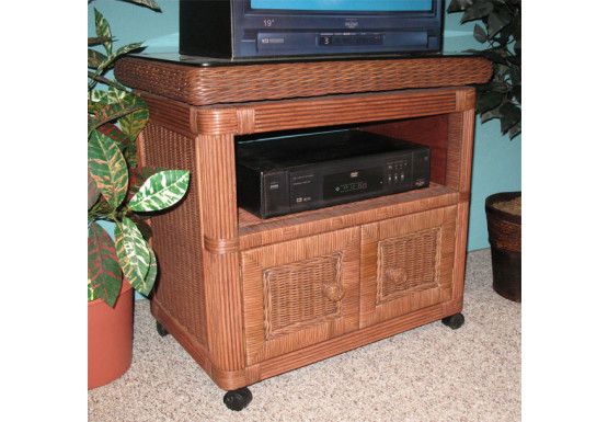 Pavilion Swivel Wicker TV Stand Teawash - TEAWASH