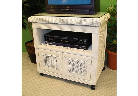 Pavilion Swivel Wicker TV Stand, White - WHITE