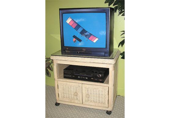 Pavilion Swivel Wicker TV Stand, White Wash - WHITEWASH