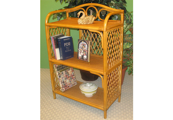 Wicker Bookcase, Caramel 3 Shelves - Wicker Bookcase, Caramel 3 Shelves