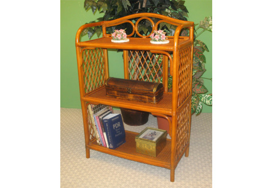 Wicker Floor Shelf, Tea Wash 3 Shelves - Wicker Floor Shelf, Tea Wash 3 Shelves