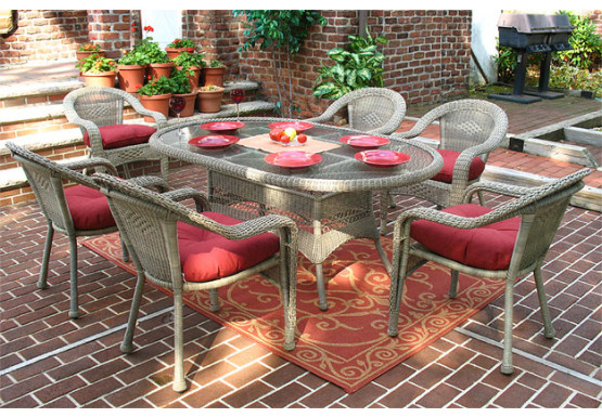 "Resin Wicker Dining Set 72""' Oval - DRIFTWOOD"