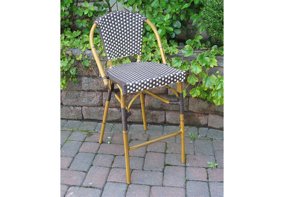 Resin Wicker Bar Stools Cafe Style  - ANTIQUE BROWN & IVORY