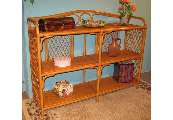 Wicker Floor Shelf, Caramel & Wide - Wicker Floor Shelf, Caramel & Wide