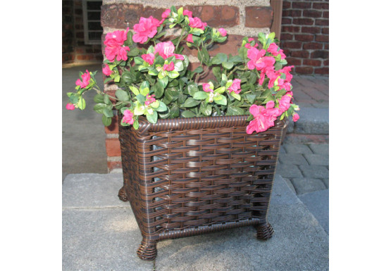 Resin Wicker Planter with Galvanize Insert - ANTIQUE BROWN