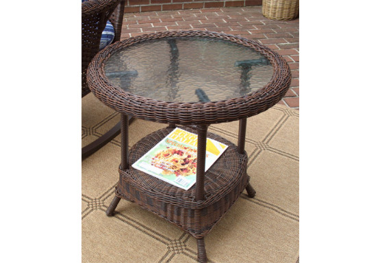 Round Resin Wicker End Table - ANTIQUE BROWN