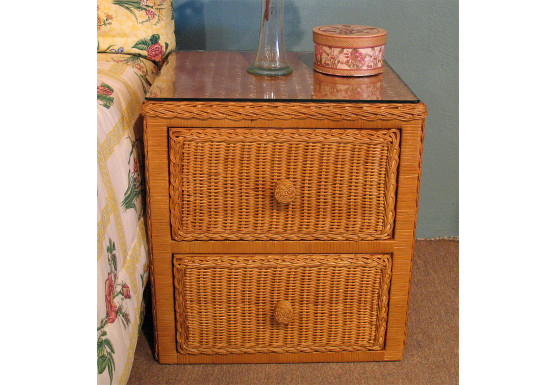 Traditional 2 Drawer Wicker Night Table, Caramel - Traditional 2 Drawer Wicker Night Table, Caramel