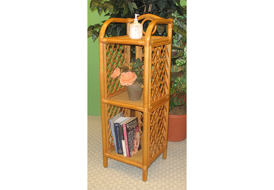 Wicker Floor Shelf, 3 Slim Shelves Caramel; - Wicker Floor Shelf, 3 Slim Shelves Caramel;