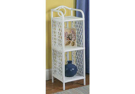 Wicker Floor Shelves, Slim, 3 Shelves, White - Wicker Floor Shelves, Slim, 3 Shelves, White