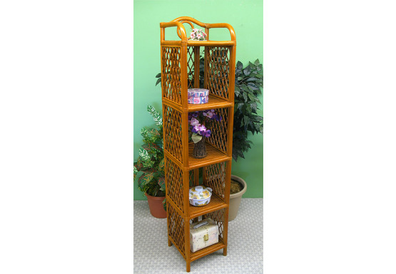 Wicker Floor Shelves, 5 Slim Shelves, Tea Wash - Wicker Floor Shelves, 5 Slim Shelves, Tea Wash