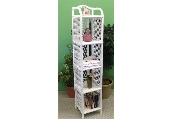 Wicker Floor Shelf, 5 Slim Shelves, White - Wicker Floor Shelf, 5 Slim Shelves, White