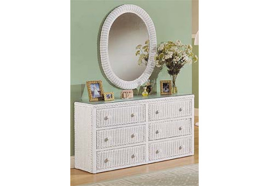 Traditional 6 Drawer Wicker Bedroom Dresser with Glass Top - Traditional 6 Drawer Wicker Bedroom Dresser with Glass Top