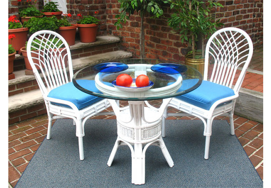 "Natural Rattan Dining Set 36"" Savannah (3 frame colors) - WHITE"