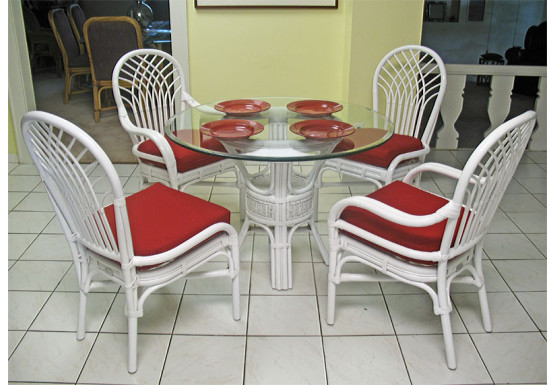 "Savannah 42"" Round Rattan Dining Sets  - WHITE"