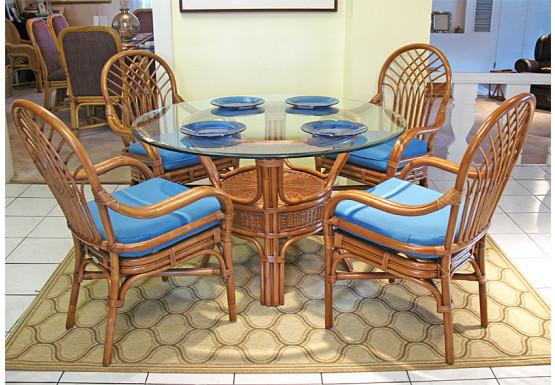 """Savannah Natural Rattan Dining Set 48"""" Round - TEAWASH"""
