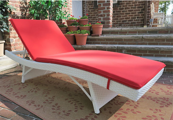 Siesta Wicker Chaise with Adjustable Back and Cushion - WHITE-SIDE VIEW
