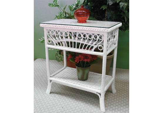 Scarlet Natural Wicker Console Table - WHITE