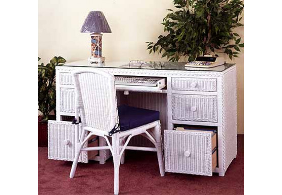 Traditional Double Wicker Desk W/File Drawers & Chair - WHITE