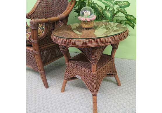 Round Wicker End Table with Glass Top   - TEAWASH
