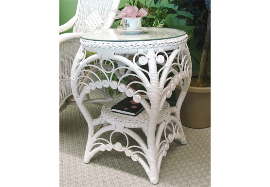 Round Sweetheart Wicker Table with Glass top - WHITE