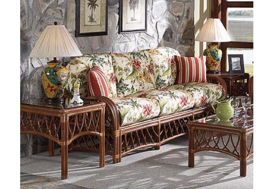 Antiqua Natural Rattan Sofa  - WALNUT