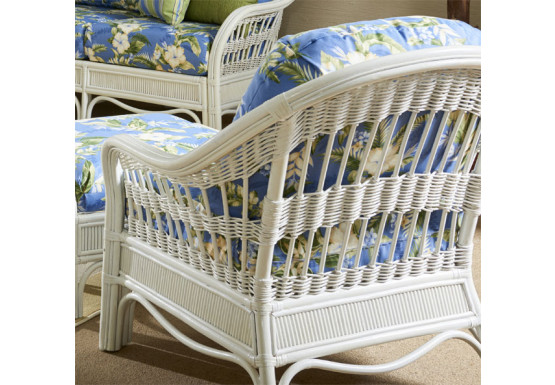 Bermuda Rattan Framed Wicker Chair  - WHITEWASH