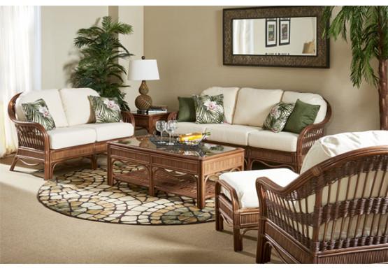 6 Piece Bermuda Rattan Sofa Set - PECAN