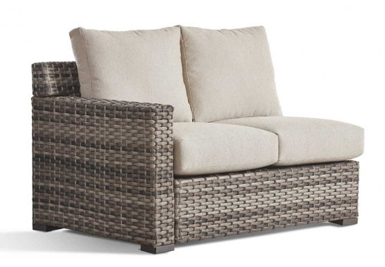 All Weather Wicker Left Arm Facing Loveseat, Biscayne Bay - SANDSTONE FINISH