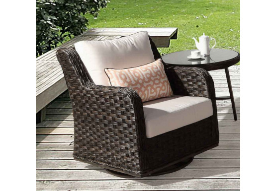 Canyon Lake All Weather Resin Wicker Swivel Glider Chair - DARK BROWN