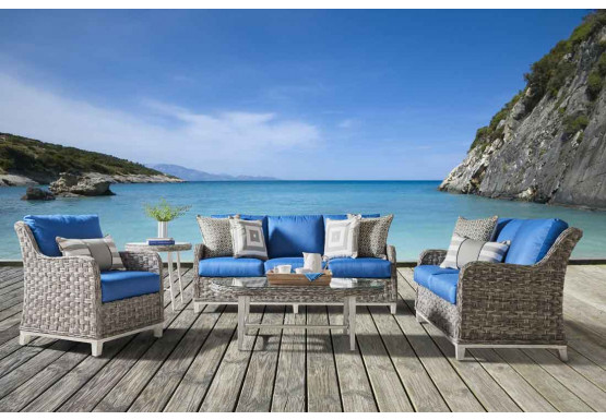 6 Piece Canyon Lake  All Weather Resin Wicker Furniture Set - GRANITE