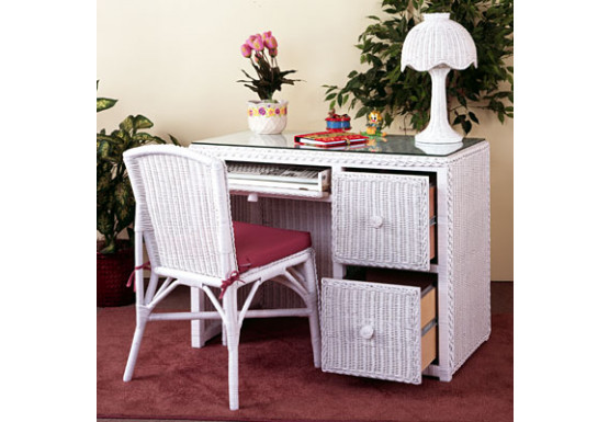 Traditional Wicker Desk W File Cabinet Drawers Amp Chair