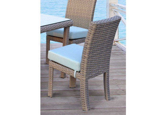 St. Croix All Weather Outdoor Resin Wicker Dining Side Chair - STONE