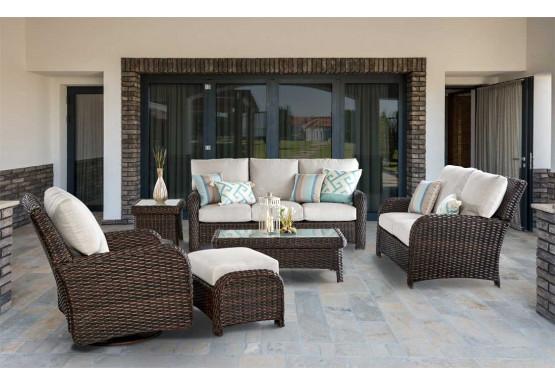 5 Piece Resin Wicker Furniture Set, St Croix - TOBACCO