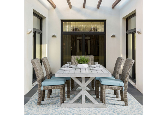 7 Piece (6 chairs) St Croix Outdoor Aluminum Slat Top Dining Set - STONE