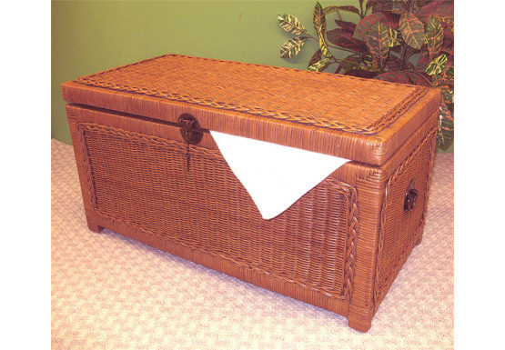 Wicker Trunks or Chests, Small Woodlined Tea Wash - Wicker Trunks or Chests, Small Woodlined Tea Wash