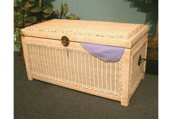 Wicker Trunks or Chests, Small Woodlined WhiteWash - Wicker Trunks or Chests, Small Woodlined WhiteWash