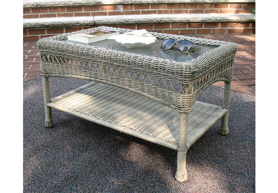 Belaire Resin Wicker Cocktail or Coffee Table  - DRIFTWOOD
