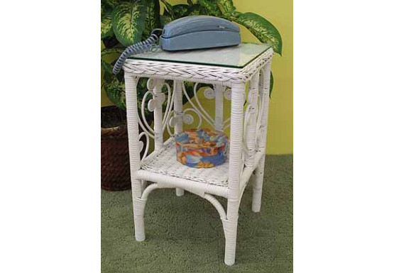 Sweetheart Wicker Telephone Table with Glass Top - WHITE
