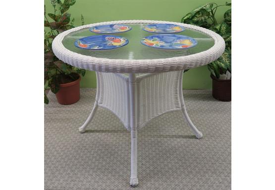 "36"" Round Resin Bistro Table w/Glass Top (No Umbrella Hole) - WHITE"