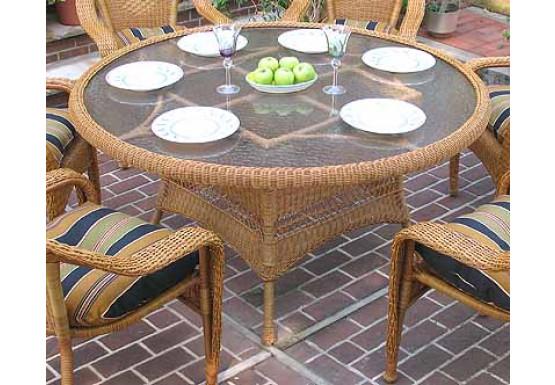"Resin Wicker Dining Table 60"" Round  - GOLDEN HONEY"
