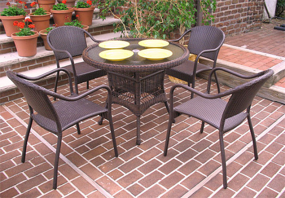 "Resin Wicker Dining Set, 36"" Round  in 5 colors - ANTIQUE BROWN"
