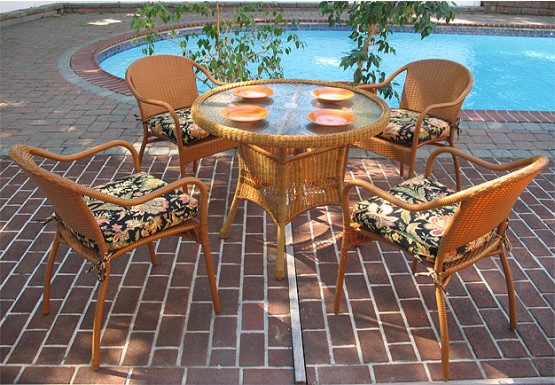 "Resin Wicker Dining Set 36"" Round in 5 Colors - GOLDEN HONEY"