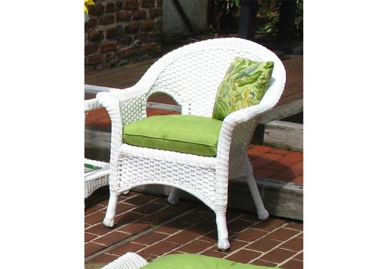 Veranda Resin Wicker Chair With Cushion - WHITE