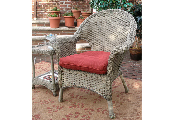 Veranda High Back Resin Wicker Chair  - DRIFTWOOD