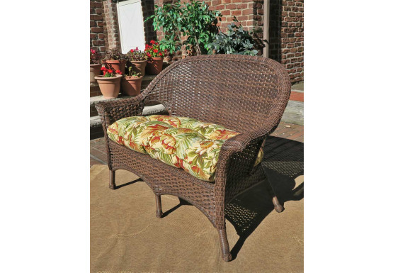 Veranda High Back Resin Wicker Love Seat - ANTIQUE BROWN