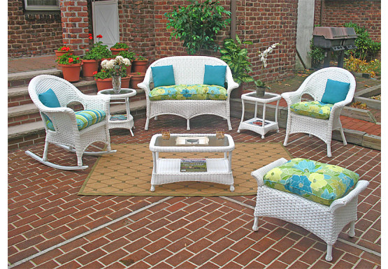 7 Piece High Back Veranda Resin Set with 1-Rocker & 1-Chair - WHITE