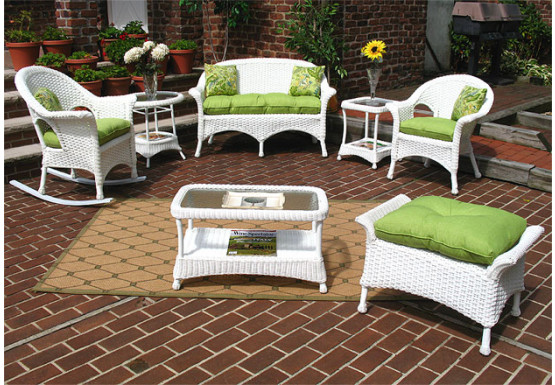 4 Piece Veranda Resin Wicker Set  - WHITE