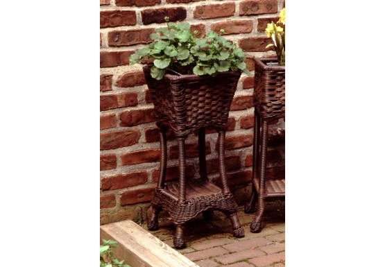 Resin Wicker Plant Stand Square with Galvanize Tin - ANTIQUE BROWN