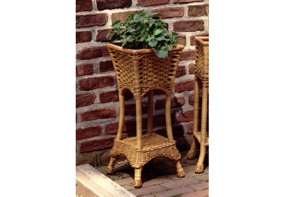 Resin Wicker Plant Stand Square with Galvanize Tin - GOLDEN HONEY